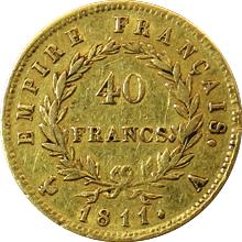 Zlatá mince 40 Frank Napoleon Bonaparte 1811