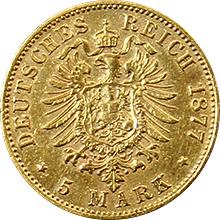 Zlatá mince 5 Marka Fridrich I. Bádenský 1877