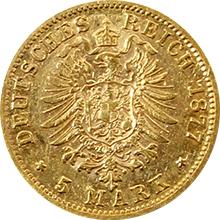 Zlatá mince 5 Marka Karel I. Württemberský 1877