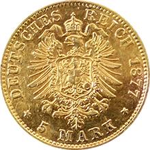 Zlatá mince 5 Marka Ludvík II. Bavorský 1877