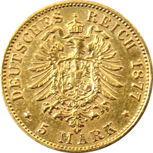 Zlatá mince 5 Marka Albert I. Saský 1877