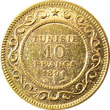 Zlatá mince 10 Frank Alí III ibn al-Husajn 1891