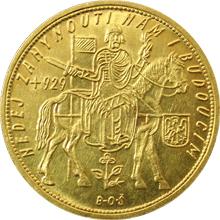 Zlatá minca Svätý Václav Ďesaťdukát Československý 1932