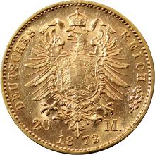 Zlatá mince 20 Marka Karel I. Württemberský 1873