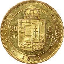 Zlatá mince Osmizlatník Františka Josefa I. 20 Franků 8 Forintů 1878