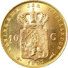 Zlatá mince 10 Gulden Vilemína Nizozemská 1897