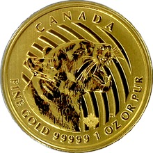 Zlatá investičná minca Growling Cougar 1 Oz 2015 (.99999)