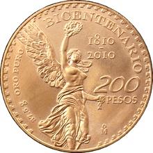 Zlatá investiční mince Mexico Bicentenario 200. výročí 2010