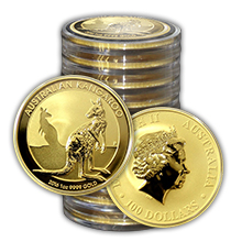 Zlatá investiční mince Kangaroo Klokan 1 Oz - Investiční Paket 10 Kusů