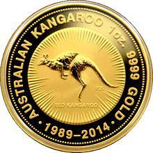 Zlatá investiční mince Kangaroo Klokan 25. výročí 1 Oz