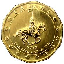 Zlatá investiční mince Mountie Maple Leaf 1 Oz 1997