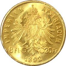 Zlatá investičná minca Osemzlatník Fr. Jozefa I. 8 Gulden 20 Frankov 1892 (novorazba)