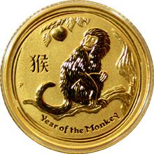 Zlatá investiční mince Year of the Monkey Rok Opice Lunární 1/10 Oz 2016