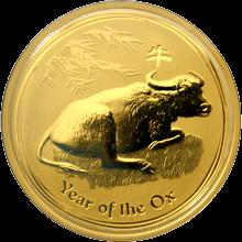 Zlatá investiční mince Year of the Ox Rok Buvola Lunární 1 Oz 2009