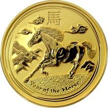 Zlatá investiční mince Year of the Horse Rok Koně Lunární 2 Oz 2014