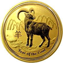 Zlatá investiční mince Year of the Goat Rok Kozy Lunární 1 Oz 2015
