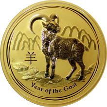 Zlatá investiční mince Year of the Goat Rok Kozy Lunární 10 Oz 2015