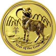 Zlatá investiční mince Year of the Goat Rok Kozy Lunární 2 Oz 2015