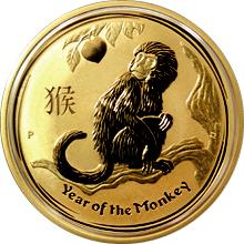 Zlatá investiční mince Year of the Monkey Rok Opice Lunární 1 Oz 2016