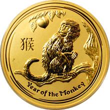 Zlatá investiční mince Year of the Monkey Rok Opice Lunární 2 Oz 2016