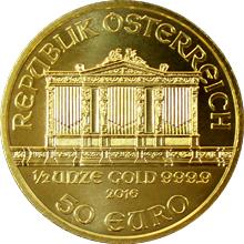 Zlatá investiční minca Wiener Philharmoniker 1/2 Oz