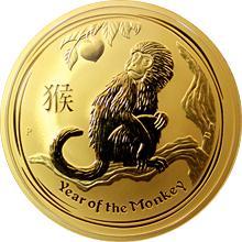 Zlatá investiční mince Year of the Monkey Rok Opice Lunární 10 Oz 2016
