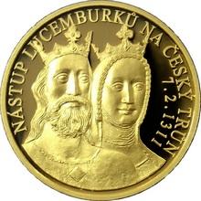 Zlatá uncová medaile Nástup Lucemburků na český trůn 2010 Proof