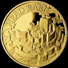 Zlatá čtvrtuncová medaile Hrad Rabí 2012 Proof
