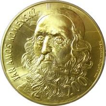 Zlatá investiční medaile 1 Kg Jan Amos Komenský Motiv 200 Kč bankovky 2014 Standard