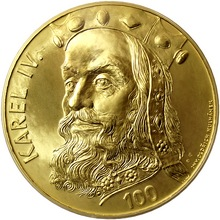 Zlatá investiční medaile 1 Kg Karel IV. Motiv 100 Kč bankovky 2015 Standard