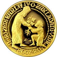 Zlatá půluncová medaile Karel IV. Vydání nařízení o zakládání vinic 650. Výročí 2008 Proof