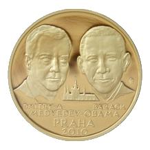 Zlatá uncová medaile Summit Obama - Medveděv 2010 Proof
