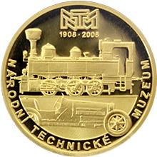 Zlatá půluncová medaile k založení Národního technického muzea 2008 Proof