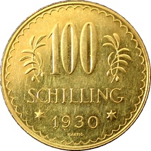 Zlatá mince 100 Šilink 1930