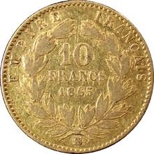 Zlatá mince 10 Frank Napoleon III. 1865 BB