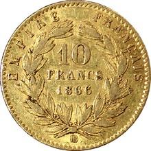 Zlatá mince 10 Frank Napoleon III. 1866 BB