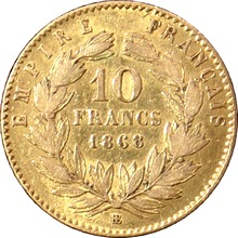 Zlatá mince 10 Frank Napoleon III. 1868 BB