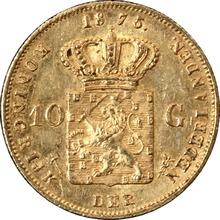Zlatá mince 10 Gulden Vilém III. Nizozemský 1875