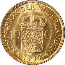 Zlatá mince 10 Gulden Vilemína Nizozemská 1917