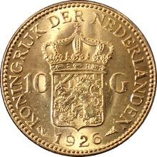 Zlatá mince 10 Gulden Vilemína Nizozemská 1926