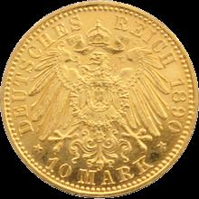 Zlatá mince 10 Marka Fridrich František III. Meklenburský 1890