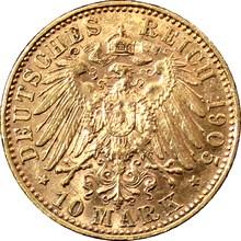 Zlatá mince 10 Marka Fridrich August III. Saský 1905