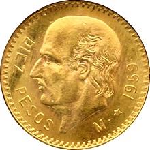 Zlatá mince 10 Peso Miguel Hidalgo 1959