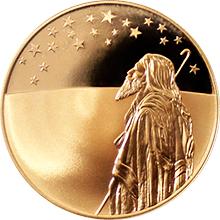 Zlatá mince Abrahám a hvězdy nad svatou zemí 10 NIS Izrael Biblické umění 1999 Proof
