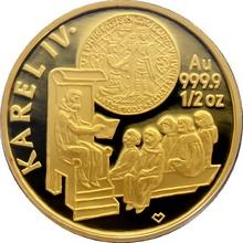 Zlatá mince 5000 Kč KAREL IV. Založení Univerzity Karlovy 1998 - 1999 Proof