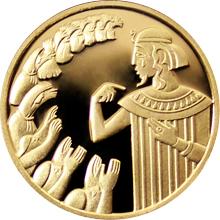 Zlatá mince Josef a jeho bratři 10 NIS Izrael Biblické umění 2000 Proof