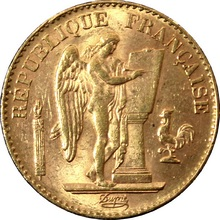 Zlatá mince 20 Frank Anděl - Génius 1897