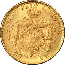 Zlatá mince 20 Frank Leopold II. Belgický 1870 - 1882