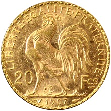 Zlatá mince 20 Frank Marianne Kohout 1907