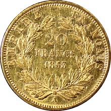 Zlatá mince 20 Frank Napoleon III. 1853 A